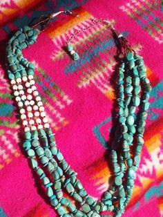 4 stand of natural turquoise nuggets and chips by CRoanCollections