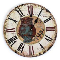 Relógio de Madeira Estilo Shabby Chic - Relógio de Coruja - Relógio para Parede - Relógio Vintage