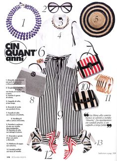 ELLE Italia - July 2013. Striped 'palazzo' trousers by #AtosLombardini.