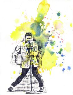 Young Elvis Presley Dancing Watercolor Painting - Original Watercolor Painting