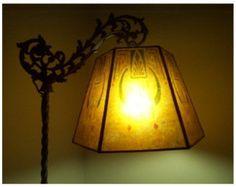 Antique 1920s Bent Bridge Floor Lamp W Jadeite Green