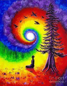 Unique rainbow swirl tree and birds painting. El agujero en la flauta: Desde lo que sobra - Lc 17, 10.