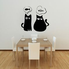 Cute Cats Are Thinking Fish Wall Sticker Vinyl Removable Home Decor Cartoon Animal Wall Decals $12.05