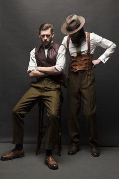 Dieselpunk men's waistcoat and suspenders. Tweed, Estilo Hipster, Mode Man, Casual Mode, Vintage Fashion, Vintage Outfits, Look Vintage, Vintage Men, Diesel Punk