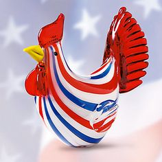 Pride of America Art Glass Rooster