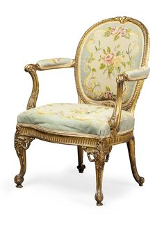 GOOD GEORGE III GILTWOOD OPEN ARMCHAIR IN THE MANNER OF THOMAS CHIPPENDALE CIRCA 1760 65CM WIDE, 94CM HIGH, 50CM DEEP - SALE 427 - LOT 3 - LYON & TURNBULL