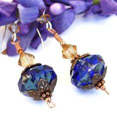 Cobalt Blue Czech Glass Handmade Earrings Swarovski Jewelry Sparkling | ShadowDogDesigns - Jewelry on ArtFire