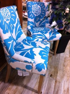 love the pattern and color on these chairs