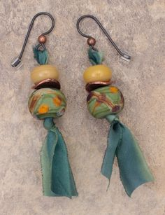 Lampwork beads from Indian Creek Art Glass and silk ribbon earrings. Bead Soup partner: Laura De Moya.