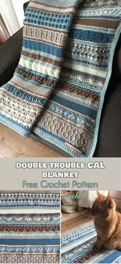 Double Trouble Cal Blanket [Free Crochet Pattern] ONLY FREE crocheting patterns for Amigurumi, Toys, Afghans, Baby Blankets, New Stitches and Tutorials and many more! #crochet #lovecrochet #freepattern #blanket