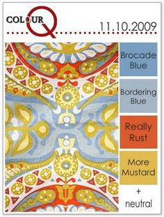 colourQ challenge #6...Brocade Blue, Bordering Blue, Really Rust, More Mustard & Neutral