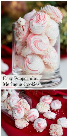fancy christmas cookies Weihnachtspltzchen Easy Peppermint Meringue Cookies - These make the perfect addition to any holiday table, tray or dish! Since they look fancy amp; taste delicious, everyone will enjoy these sweet treats. Christmas Sweets, Christmas Cooking, Christmas Candy, Christmas Parties, Christmas Sweet Table, Christmas Time, Christmas Pavlova, Winter Parties, Tea Cakes