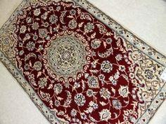 少し大きめな玄関マット手織りペルシャ絨毯55130、代表的なペルシャのデザインと色