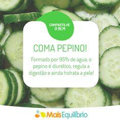 Inclua pepino na sua salada, livre-se do inchaço e fique com a pele hidratada. http://cyberdiet.terra.com.br/legumes-para-sua-saude-12-1-12-57.html