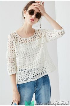 Очаровательный ажурный пуловер, связанный крючком