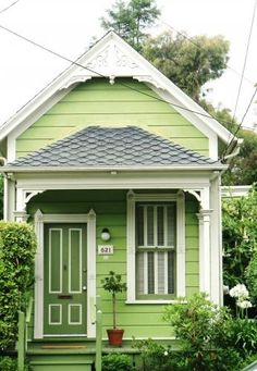 Giving the Green House a whole new meaning! I can't say i'd paint my house this color. but maybe a shed. Cottage Living, Cozy Cottage, Cottage Homes, Cottage Style, White Cottage, Living Room, Little Cottages, Cabins And Cottages, Little Houses