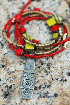 Red & Chartreuse: Long Boho Chic Red Glass, Chartreuse & African Brass Pendant Necklace $150 Colar Fashion, Fashion Necklace, Red Jewelry, Bohemian Jewelry, Jewelery, Long Pendant Necklace, Strand Necklace, Brass Pendant, Red Glass