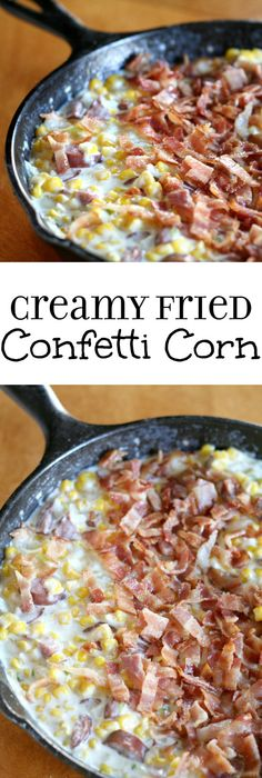 Creamy Fried Confetti Corn Recipe - an easy, creamy side dishes recipe with lots of vegetables, including corn and peppers. And even BACON and sausage! I love making this side dish for Thanksgiving!