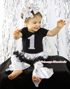 (26.99$)  Watch here - http://aidsu.worlditems.win/all/product.php?id=32708013438 - Birthday Bling 1ST Dance Black Ruffle Sliver Tutu Dress Pants Set 1-8Y