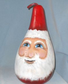 Hand Painted Santa Large Gourd by HouseOfGourds on Etsy