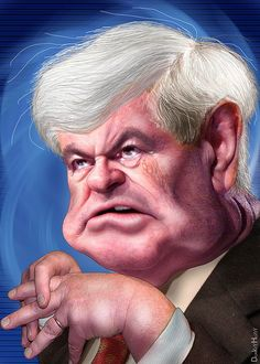 Newt Gingrich - Caricature  http://local-seo-company.net  Like - Repin