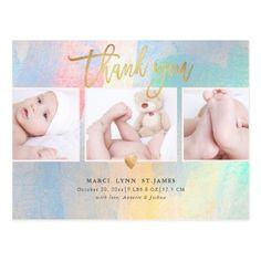 Baby Shower Thank You Colorful Brush Strokes Postcard Photo Thank You Cards, Thank You Postcards, Baby Shower Thank You Gifts, Shower Gifts, Photo Heart, Kids Corner, Baby Design, Brush Strokes, Postcard Size