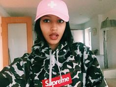 Supreme Camo box logo hoodie girl places plus faces cap P+F pink