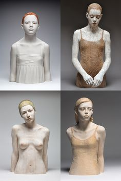 these look like clay sculptures but they aren't . They are wood which is really incredible if you've ever worked with wood. Bruno Walpoth is amazing!