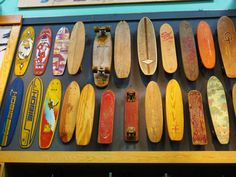 Santa Cruz road trip. We made a pit stop in a surf shop on the way up.  They had an awesome collection of vintage skateboards.