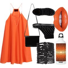 Festival Outfit - Orange by briana-mason94 on Polyvore featuring H&M, Jeffrey Campbell, Monki, Pieces, Lime Crime and SIGG