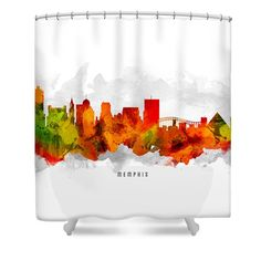 Memphis Tennessee Cityscape 15 Shower Curtain by Aged Pixel