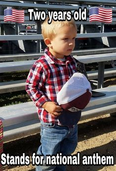 """""""This is what a true American looks like during the National Anthem, and he's only America Pride, I Love America, God Bless America, American Freedom, American Flag, Stand For National Anthem, Country Strong, Country Boys, Military Homecoming"""