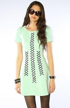 Style stalker Dress Bombshell Lace Up Dress in Mint – Karmaloop : Karmaloop.com - Global Concrete Culture