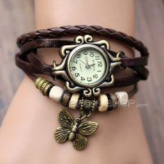2013 Modeschmuck Retro Stil Schmetterling Dekoration Uhren für Frauen / Mädchen mit Vollrindleder Perlen Armbanduhr (Mutilfarbe)