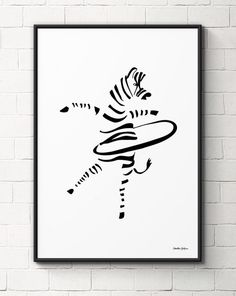 Black and white illustration of a sporty zebra. Part of the Sporty Species collection. Hula-Hoop Zebra is a perfect gift for both children and playful adults. Zebra Illustration, Black And White Illustration, Baby Boy Room Decor, Unique Poster, Funny Posters, Nursery Wall Art, Nursery Decor, Bedroom Decor, Illustrations