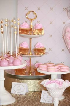 pink and gold party | Pink and Gold Princess Party with Lots of Cute Ideas via Kara's Party ...