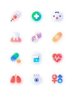 医疗,治疗,看病,体检,牙齿,创可贴,口腔科,吃药,肺部,视力,急救箱 3d Icons, Vector Icons, App Icon Design, Ux Design, Creative Design, Apple Icon, Android App Design, Doodle Inspiration, Design Inspiration