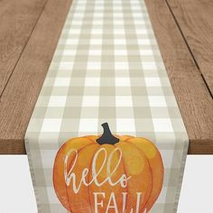 Hello Fall Buffalo Check Table Runner ($48) ❤ liked on Polyvore featuring home, kitchen & dining, table linens, thanksgiving table linens, rustic table runners, patterned tablecloth, thanksgiving table runner and fall table linens