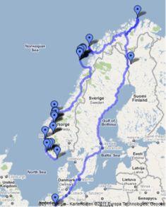 Rundreise zum Nordkap - Fahrstrecke