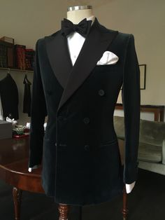 Bespoke Smoking Jacket DB. H&S Velvet. Fine Corded Silk Facings. Covered Buttons. By Purwin & Radczun