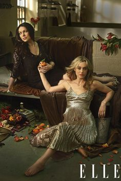 """I always think of her as a spider,"" That '70s Show alum Laura Prepon says of her character, Alex Vause, who's determined to seduce Piper away from her nebbish fiancé Larry (Jason Biggs). ""She's just waiting for the final kill."" On Prepon: Dress, Dolce & Gabbana; necklace, rings, De Beers; cuff, Jennifer Fisher; ring, Ileana Makri; pumps, Christian Louboutin. On Schilling: Dress, Rochas; necklace, bracelet, De Beers; bracelet, Bulgari; pumps, Jimmy Choo."