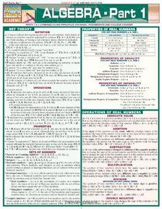 Algebra Part 1 (Quickstudy: Academic) by Inc. BarCharts, http://www.amazon.com/dp/1572227354/ref=cm_sw_r_pi_dp_pkKfub0HTFBA2
