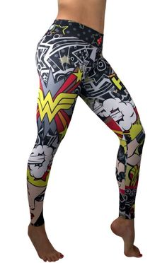 S2 Activewear - Wonder Woman Pop-Art Leggings Everyone loves the superhero, Wonder Woman from the Justice League of the DC Comics universe! These super colorful and fun leggings fit great, last forever and will make your friends jealous! https://ronitaylorfitness.com/collections/s2-activewear/products/s2-activewear-wonder-woman-pop-art-leggings-1