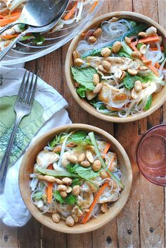 Vietnamese noodle salad with chicken