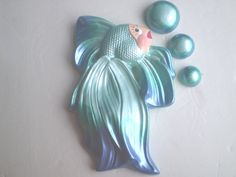 Retro Style Aqua Fish Chalkware Wall Plaque....ahhhhh, was on our bathroom wall as akid!
