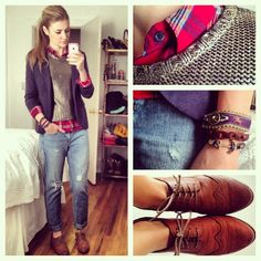 Golden Boy ~Plaid Shirt #Target #Thrifted ~Gold Crew Neck #HM ~Navy Blazer #HM ~Boyfriend Jeans #Gap ~Oxford Shoes #HM ~Horse And Anchor Bracelets #KielJamesPatrick - @Karla Reed- #webstagram