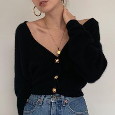Absolutely stunning black wool and angora blend knit cardigan sweater with golden buttons. So luxurious and chic. 🌹 Tap for more photos,… Source by fashion boho Mode Outfits, Winter Outfits, Casual Outfits, Fashion Outfits, Womens Fashion, Fashion Trends, Fashion Pics, Winter Clothes, Casual Wear