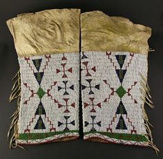 Pair of beaded Cheyenne leggings  circa 1880-1890  American Indian