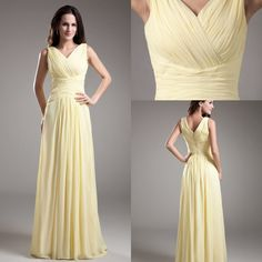 Floor Length Tank V-Neck Pleated Prom Dress - Uniqistic.com