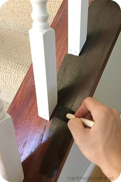 SIMPLE banister makeover with GF Java Gel Stain, minimal prep, great results! Stained Staircase, Open Staircase, Spiral Staircases, Grand Staircase, Banister Remodel, Stair Banister, Railings, Black Banister, Stair Renovation
